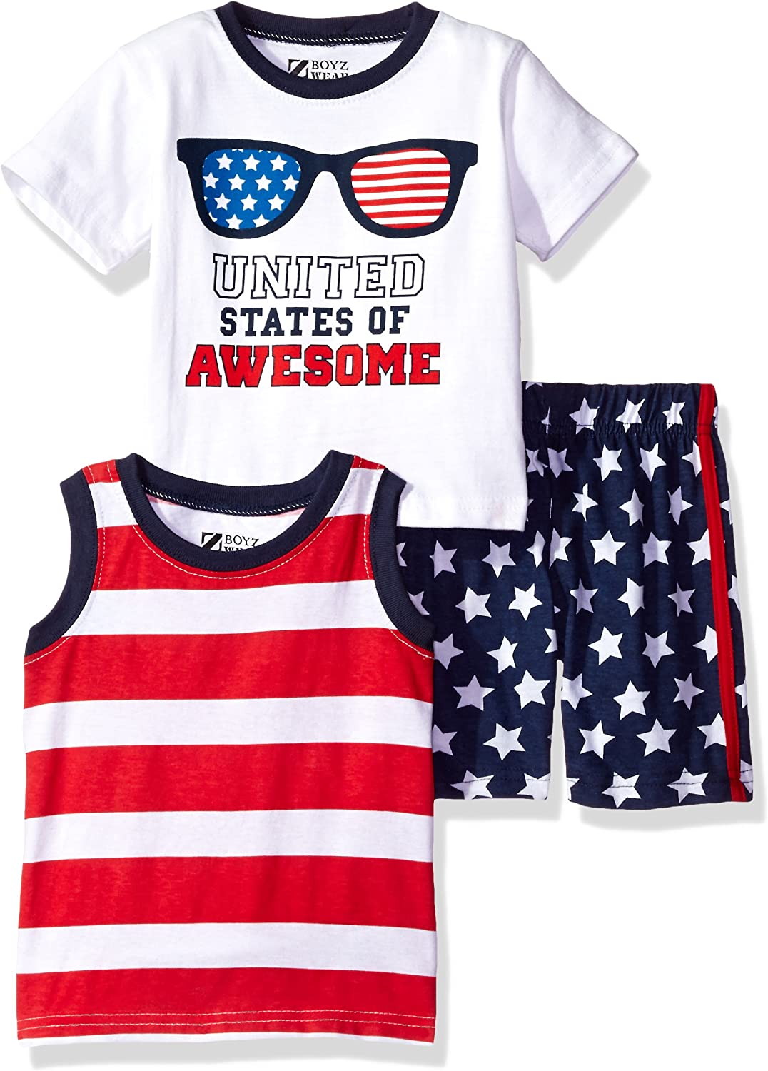 Nannette Baby Boys 3 Piece Tank and Tee Short Set