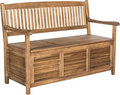 14th Mobility Wooden Outdoor Storage Bench, Made of Solid Acacia Wood Construction, Brown Color + Expert Guide