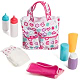 Mommy & Me Baby Doll Accessories 5 Pocket Diaper Bag with 7 Doll Care Accessories, Including Bottles, Diaper, Baby Lotion, Po