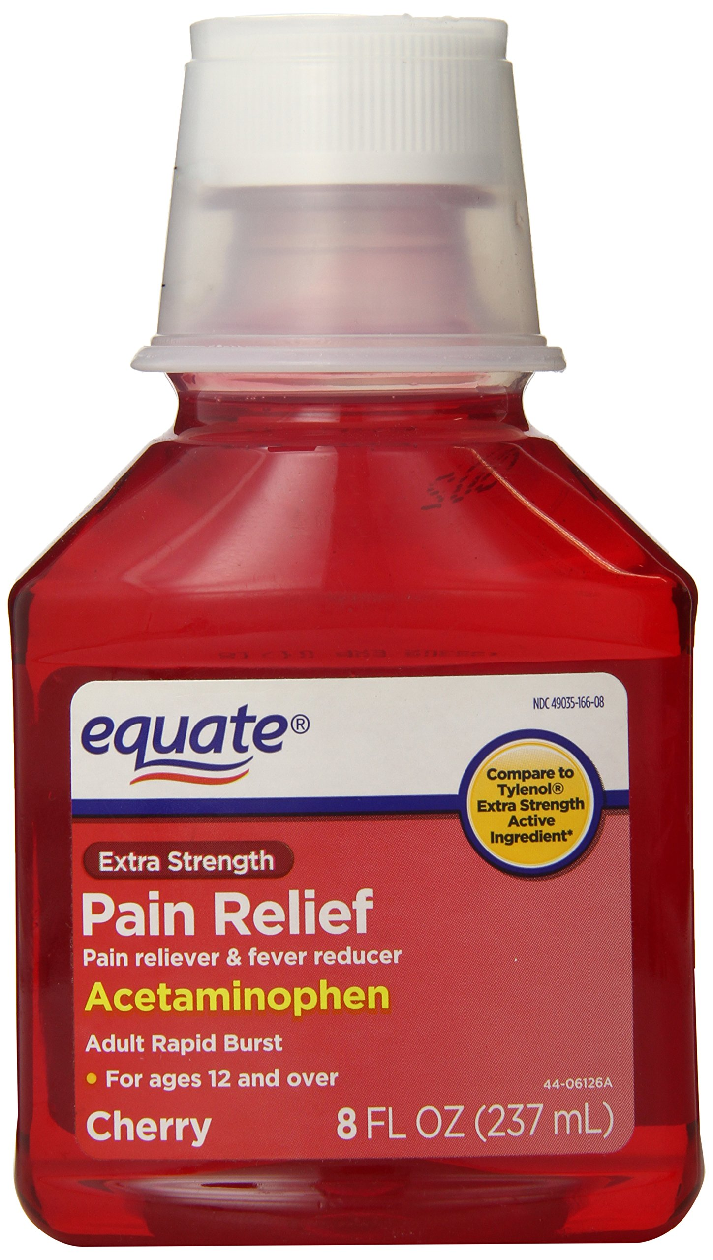 Extra Strength Liquid Acetaminophen Pain Reliever, 8oz, Cherry, By Equate, Compare to Tylenol Extra Strength