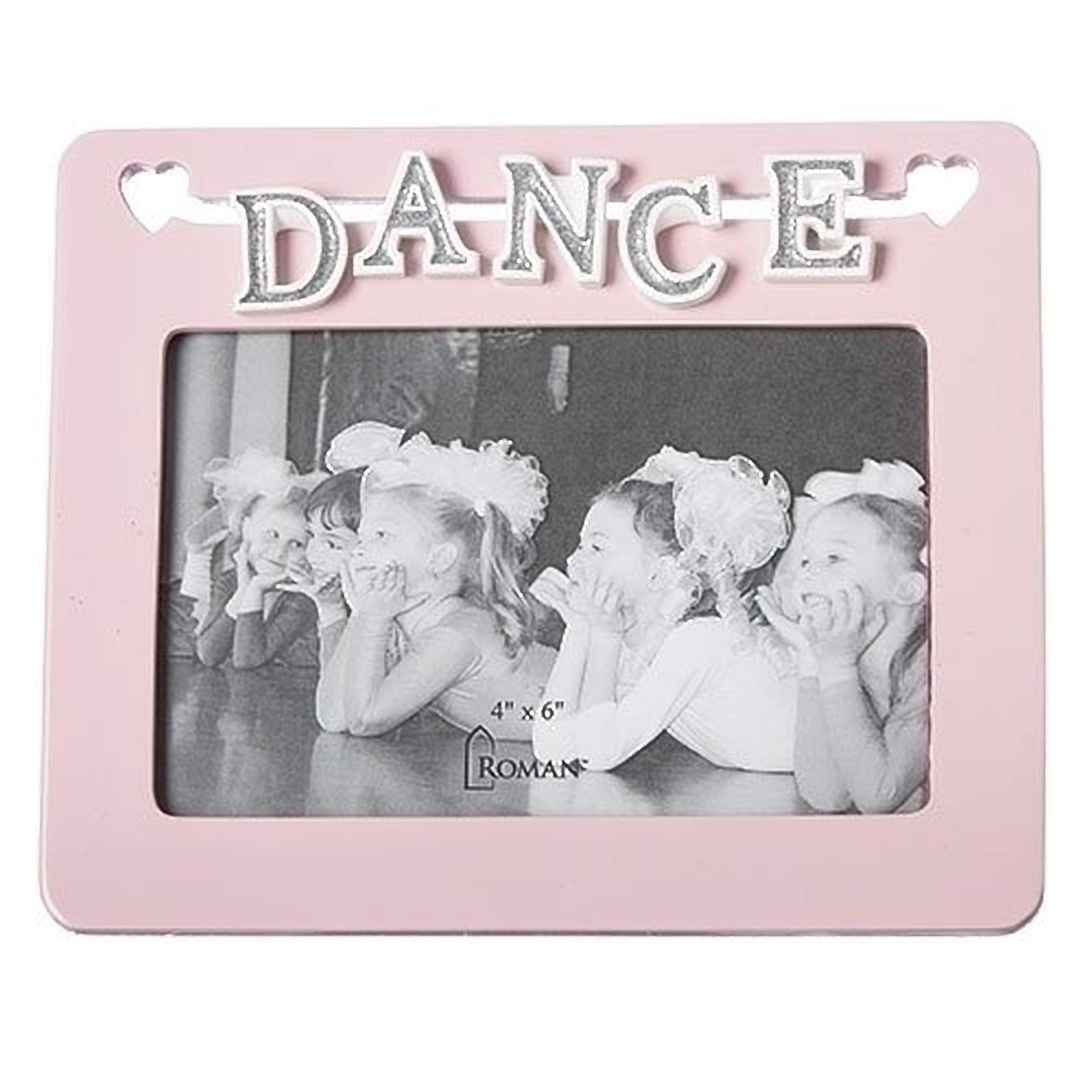 Dance Letters with Cutout Hearts Soft Pale Pink 7.5 x 6 Resin Stone Photo Frame