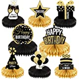 8 Pieces Happy Birthday Party Decorations Supplies Birthday Honeycomb Centerpieces Birthday Table Toppers for Birthday Party