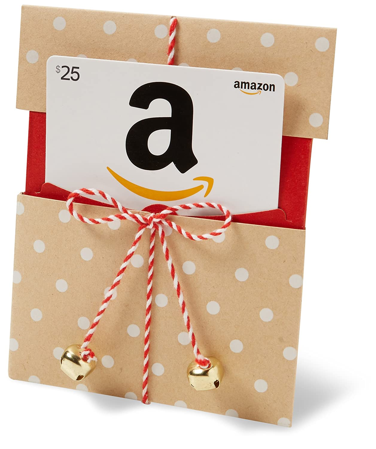 .com Gift Card in a Kraft Paper Reveal with Jingle Bells