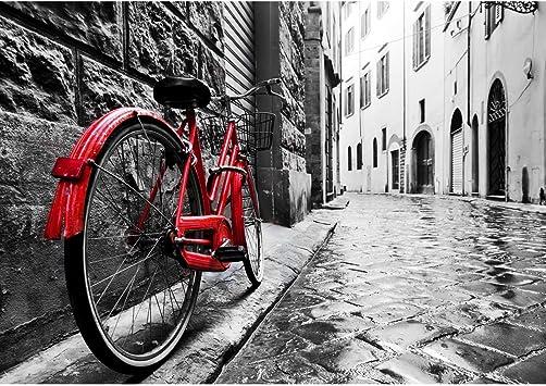 Papel Pintado Fotográfico Bicicleta roja 352 x 250 cm Tipo Fleece no-trenzado Salón Dormitorio Despacho Pasillo Decoración murales decoración de paredes moderna - 100% FABRICADO EN ALEMANIA - 9220011a: Amazon.es: Bricolaje y herramientas