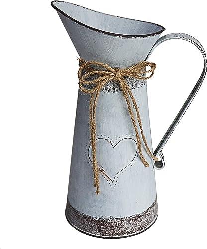 MISIXILE Rustic Metal Farmhouse Pitcher Vase, Primitive Milk Jug Flower Vase Shabby Chic Vase for Home Decor -10.6 Misty Grey