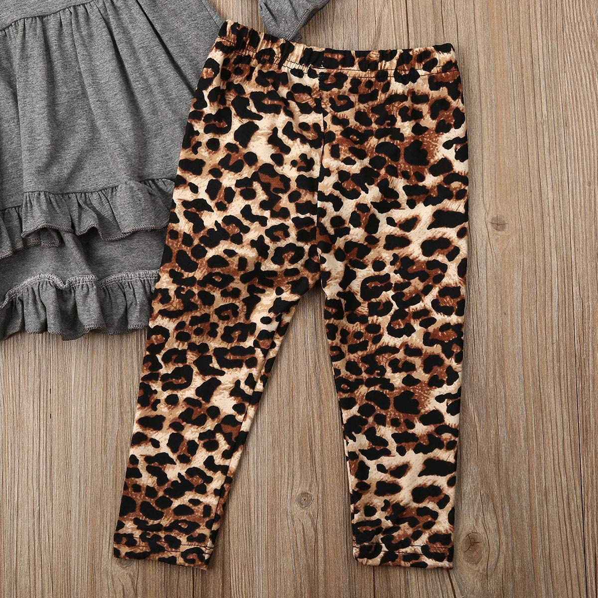 3PCS Toddler Baby Girl Fall Outfit Ruffle Long Sleeve Tunic Top+Leopard Legging Pants+Headband Clothes Set