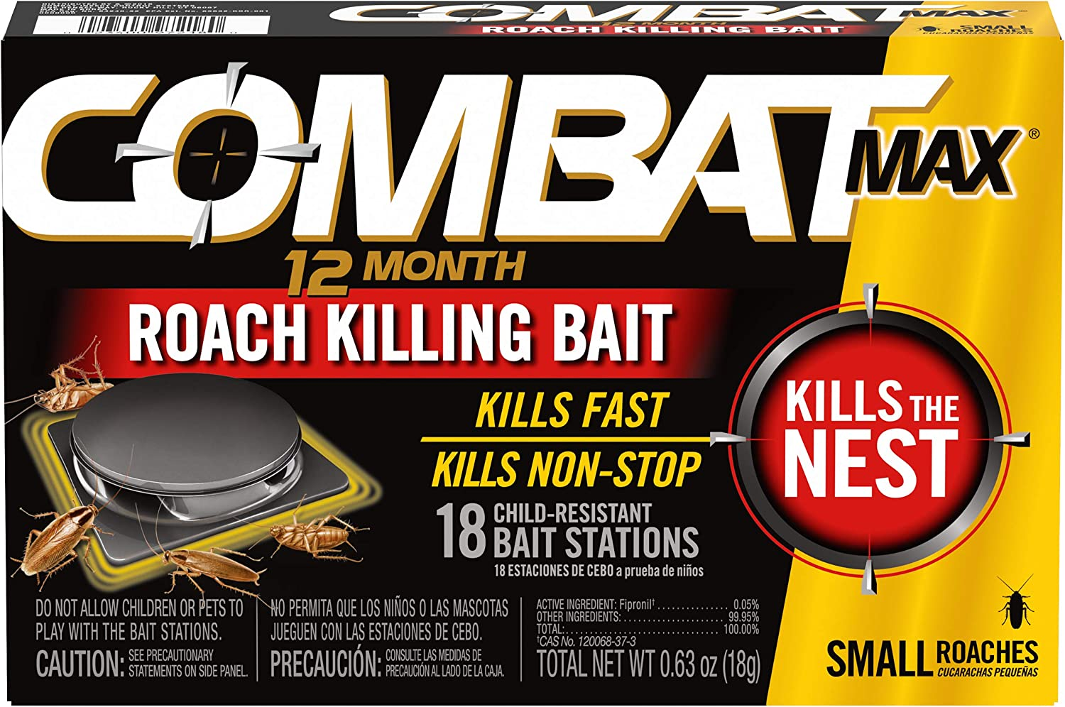 Combat Max 12 Month Roach Killing Bait, Small Roach Bait Station, Child-Resistant, 18 Count: Health & Personal Care
