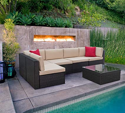 Incredible Kaimeng 6 Piece Lawn Garden Outdoor Patio Furniture Sets Black Brown Ratten Wicker Sectional Sofa Sectional Conversation Set With Seat Cushions Home Interior And Landscaping Ponolsignezvosmurscom