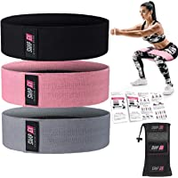 ShapEx Set of 3 Fabric Resistance Bands, Heavy Duty Non-Slip Booty Bands for Legs and Butt,Exercise Bands for Squats…