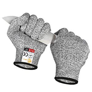 EVRIDWEAR Cut Resistant Gloves Food Grade Level 5 Kitchen Safety Protection (Small, Gray)
