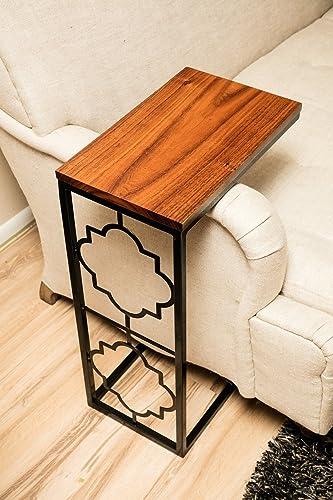 Amazoncom Gloss Black C Table With Black Acacia Slab Top Handmade