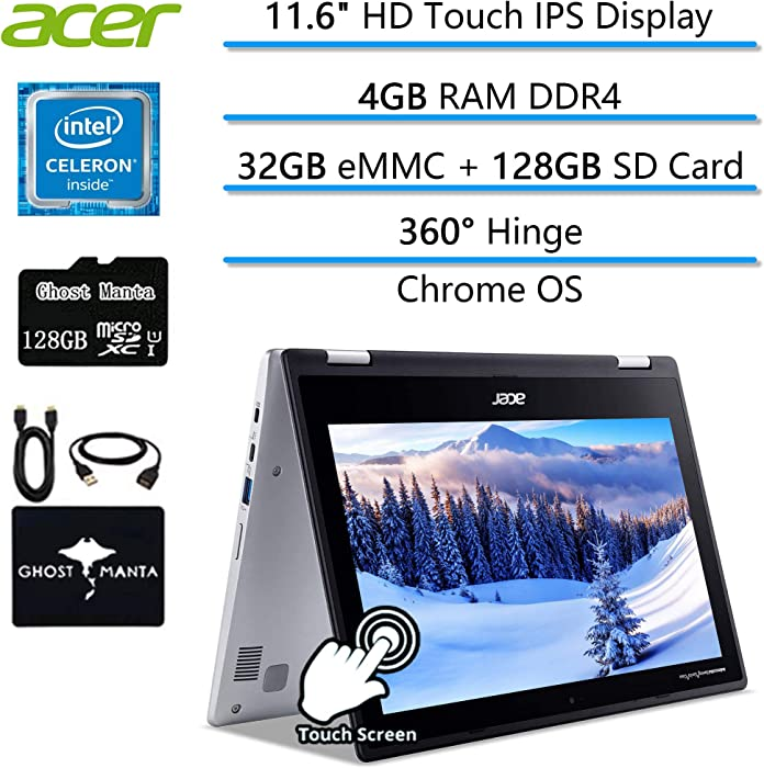 """2020 Newest Acer Chromebook Spin 2-in-1 Convertible Laptop Student Business,, 11.6"""" HD Touch IPS Display, Bluetooth USB-C, Chrome OS (4GB RAM 
