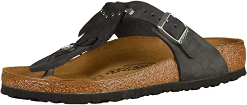 d51314f1be1e Birkenstock Gizeh Leather Fringe Natural Leather Black  Amazon.ca ...