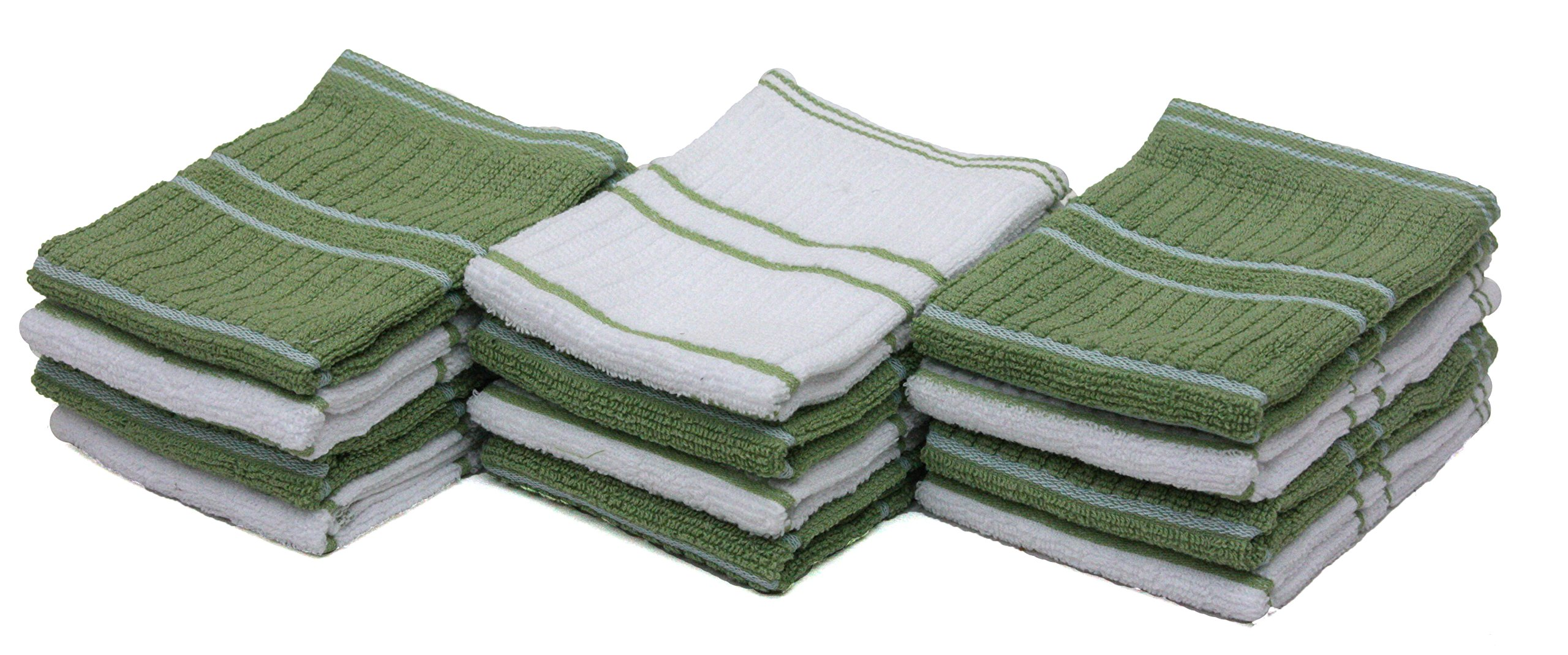 J&M Home Fashions Ribbed Terry Kitchen Dish Cloths (13x13 Set of 12 - Assorted Green & White) Absorbent & Durable for Cleaning Countertops, Dusting, or Washing Dishes