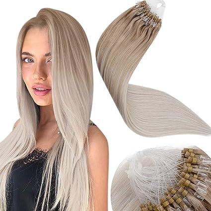 Micro Loop Extensiones de Cabello,LaaVoo Micro Beads Human Hair Extensions 22 Pulgadas Extensiones de Micro Anillo Naturales Balayage #18 Rubio Ombre ...