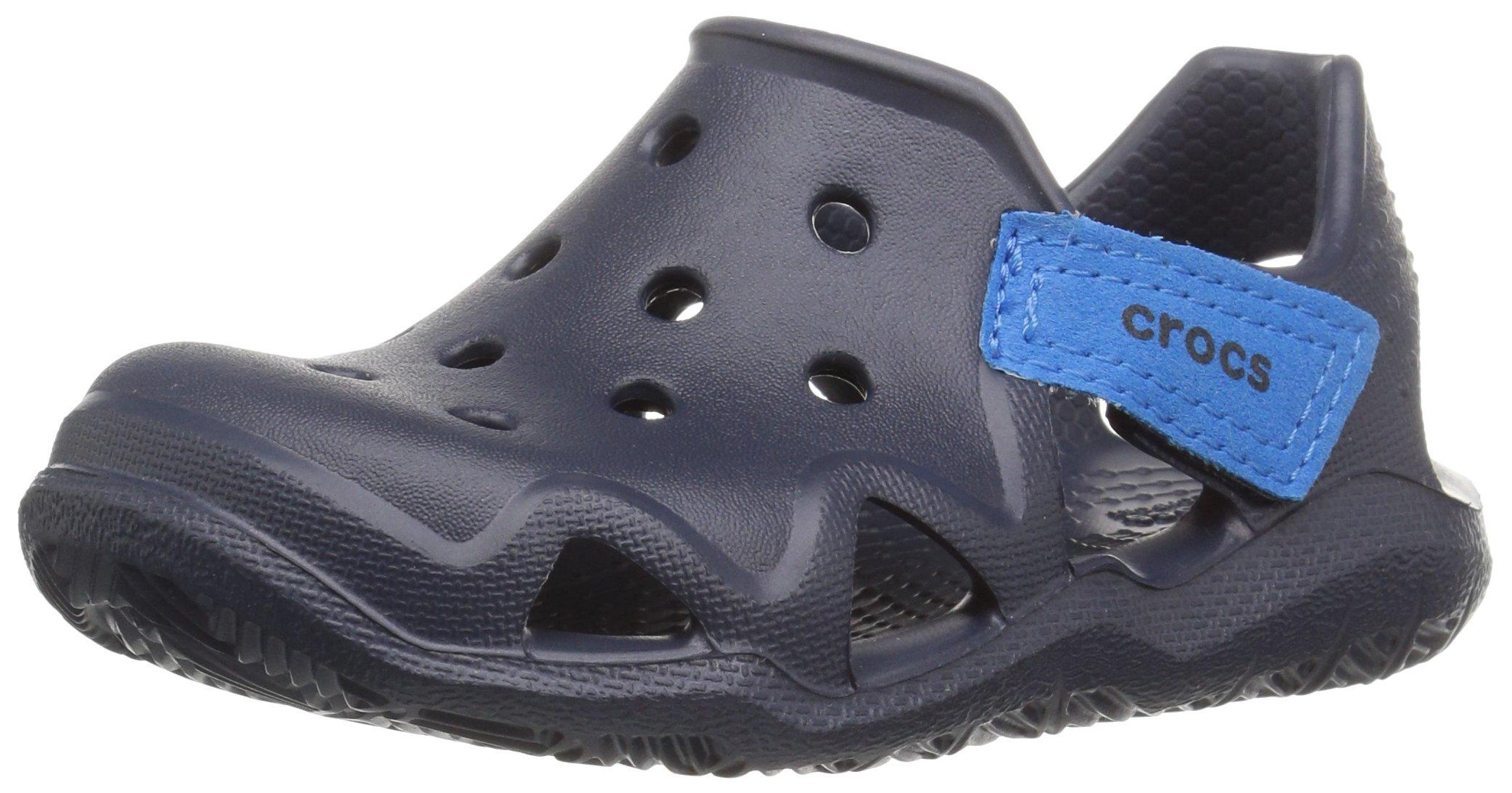 Crocs Kids' Swiftwater Wave K Slip-On, Navy, 8 M US Toddler