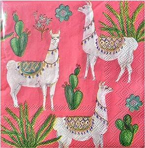 OCS Designs Desert Llamas Cocktail Beverage Paper Napkins, (PNC29), 40 ct