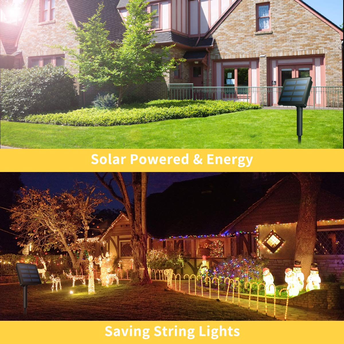 Solar String Lights, Morpilot 200LED 22M 8 Modes Luminaire, Warm White Solar Powered Copper Cables 72ft IP65 Waterproof Lights, for Indoor Outdoor Decoration Christmas Parties | Garden | Weddings
