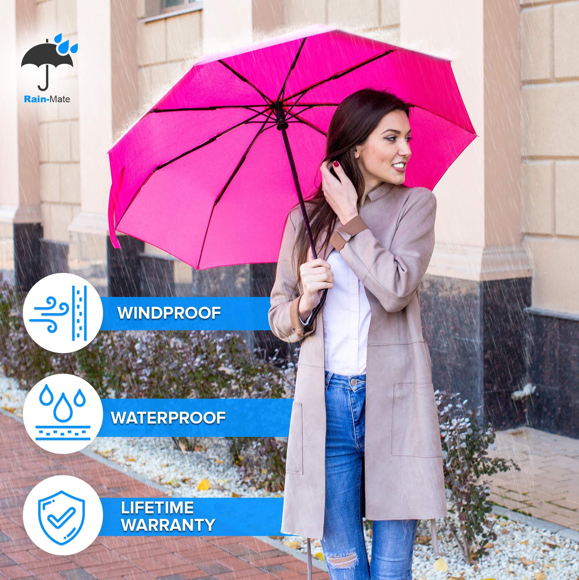 aa587a391d06 Rain-Mate Compact Travel Umbrella - Windproof, Reinforced Canopy ...