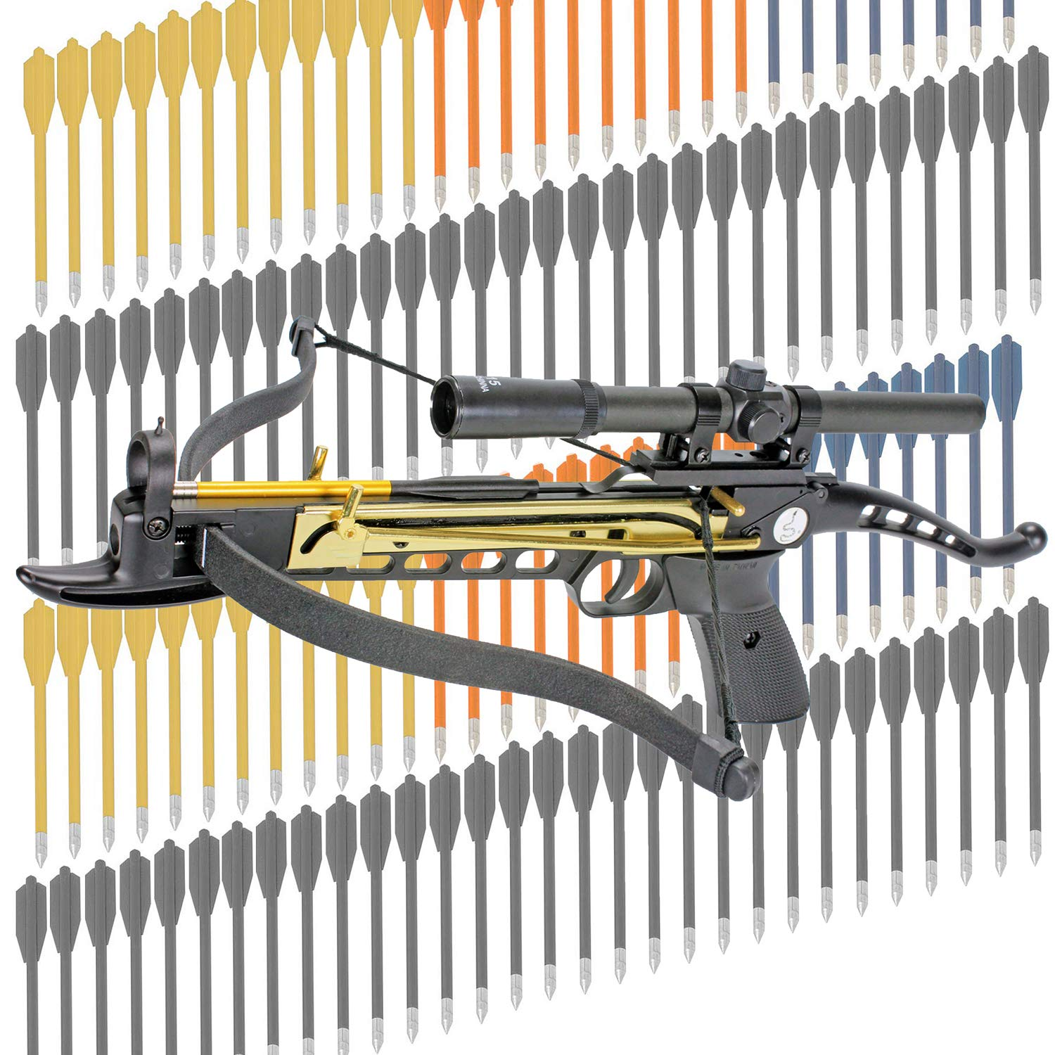 KingsArchery Crossbow Self-Cocking 80 LBS with Hunting Scope, 3 Aluminium Arrow Bolts, and Bonus 120-pack of Colored PVC Arrow Bolts Warranty