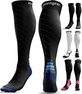 Compression Socks for Men & Women (20-30 mmHg) - Anti DVT Stockings - Swollen Legs - Varicose Veins - Edema - Running - Sports - Nurses - Shin Splints Calf Pressure Support - Pregnancy - Blood Circulation - Flight Travel - S/M