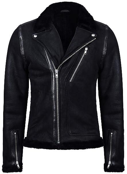 Infinity Leather Chaqueta Motera de Piel de Oveja Negra para Hombre: Amazon.es: Ropa y accesorios