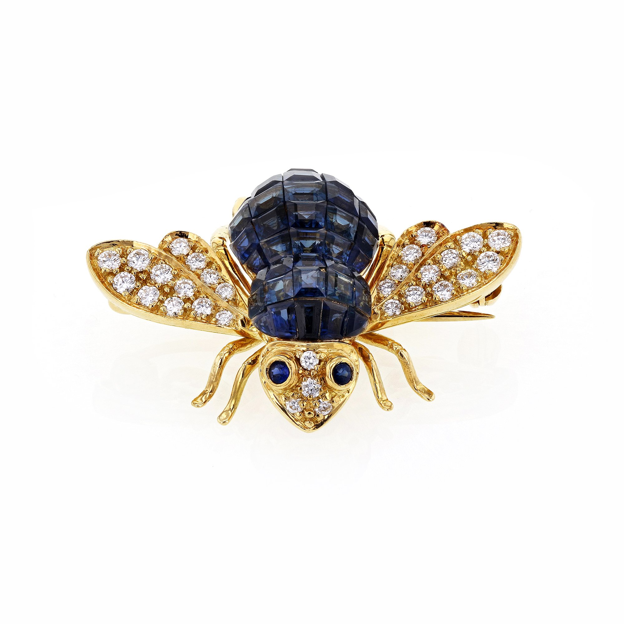 Sabbadini Gioielli Blue Sapphire and Diamond Bee Brooch 5 Carats TGW 18k Yellow Gold - Italian Fine Jewelry
