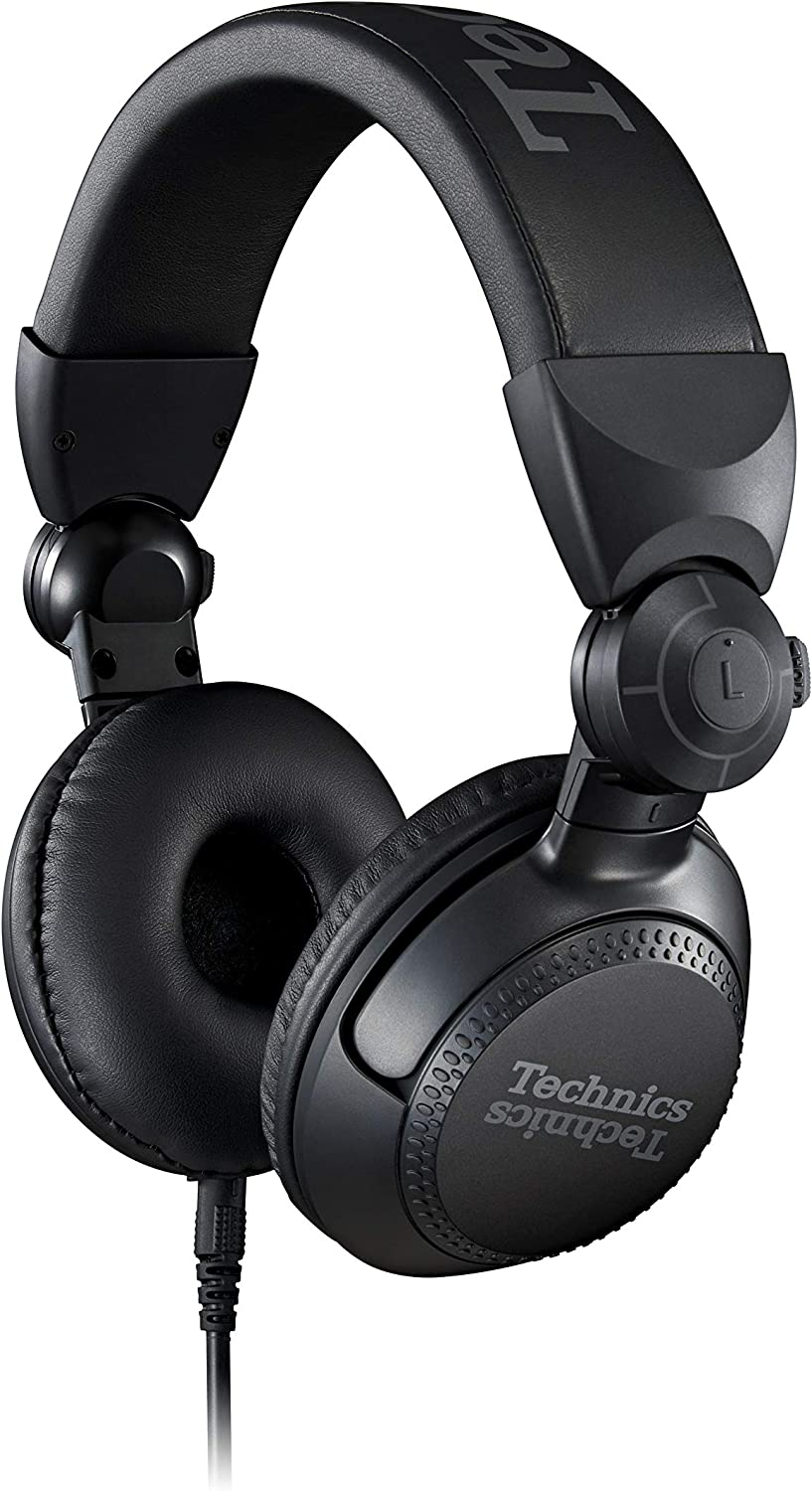 Technics Professional DJ Headphones with 40mm CCAW Voice Coil Drivers, 270° Swivel Housing and Locking Detachable Cord; Lightweight, Foldable High Input - EAH-DJ1200 (Black)