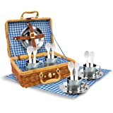 Stainless Steel Picnic Play Set in Wicker Basket - 18 Pieces, Blue Check Cloth