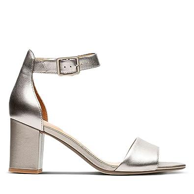 7b26fd2a7db3 Clarks Deva Mae Leather Sandals in Pewter Standard Fit Size 4½ Grey ...