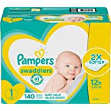 Pampers Swaddlers Pañales Desechables Recién Nacido, Talla 1 (4 - 6 Kg ), Pack gigante- 140 Piezas