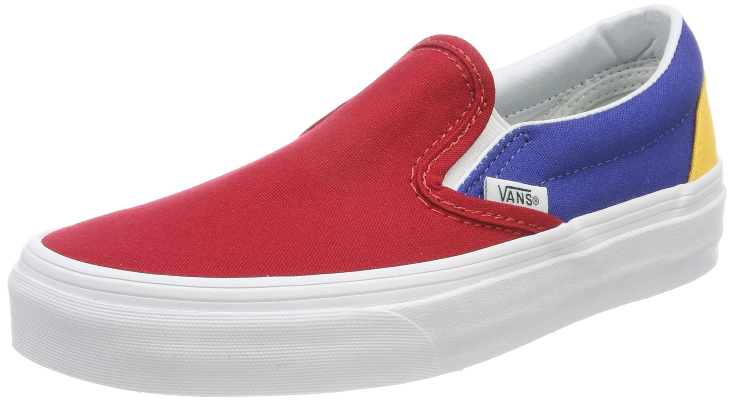 Galleon - Vans Mens Yacht Club Classic Slip-On Shoes (9.5 Women   8 Men M  US) Red-Blue-Yellow 1c6fd08d3