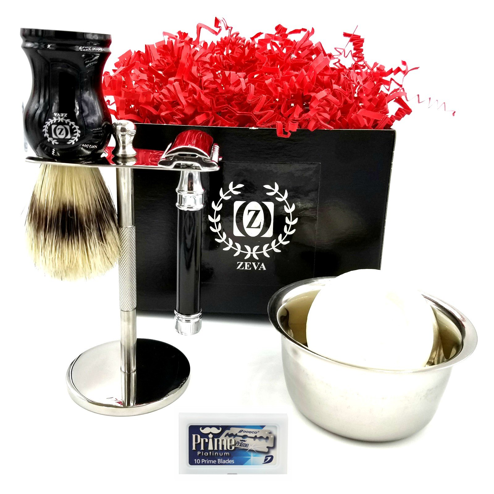 Mens Shaving Set Wooden Badger Hair Brush Safety Razor Classic Shave Vintage Holiday Season Gift Idea