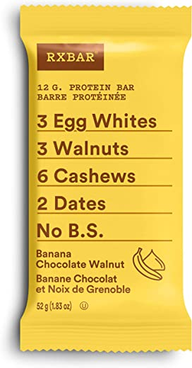 RXBAR Banana Chocolate Walnut, Protein Bar, Breakfast Snack, 12ct, 52 Grams
