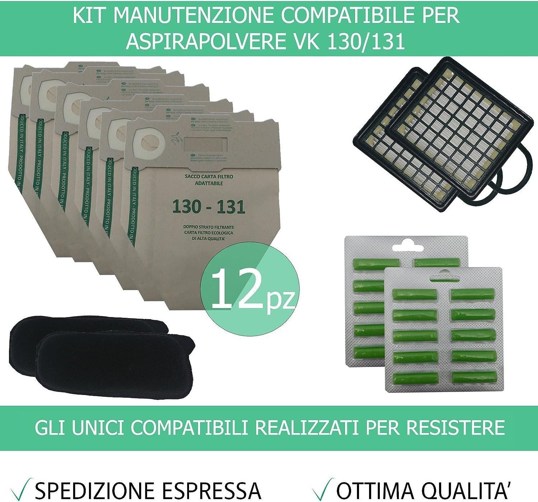 131 SC Filtro ODORI per aspirapolvere Vorwerk Folletto Kobold VK 130 VK130 Filtro HEPA // EPA KIT 6 Sacchi // Sacchetti 6 Profumini VK131