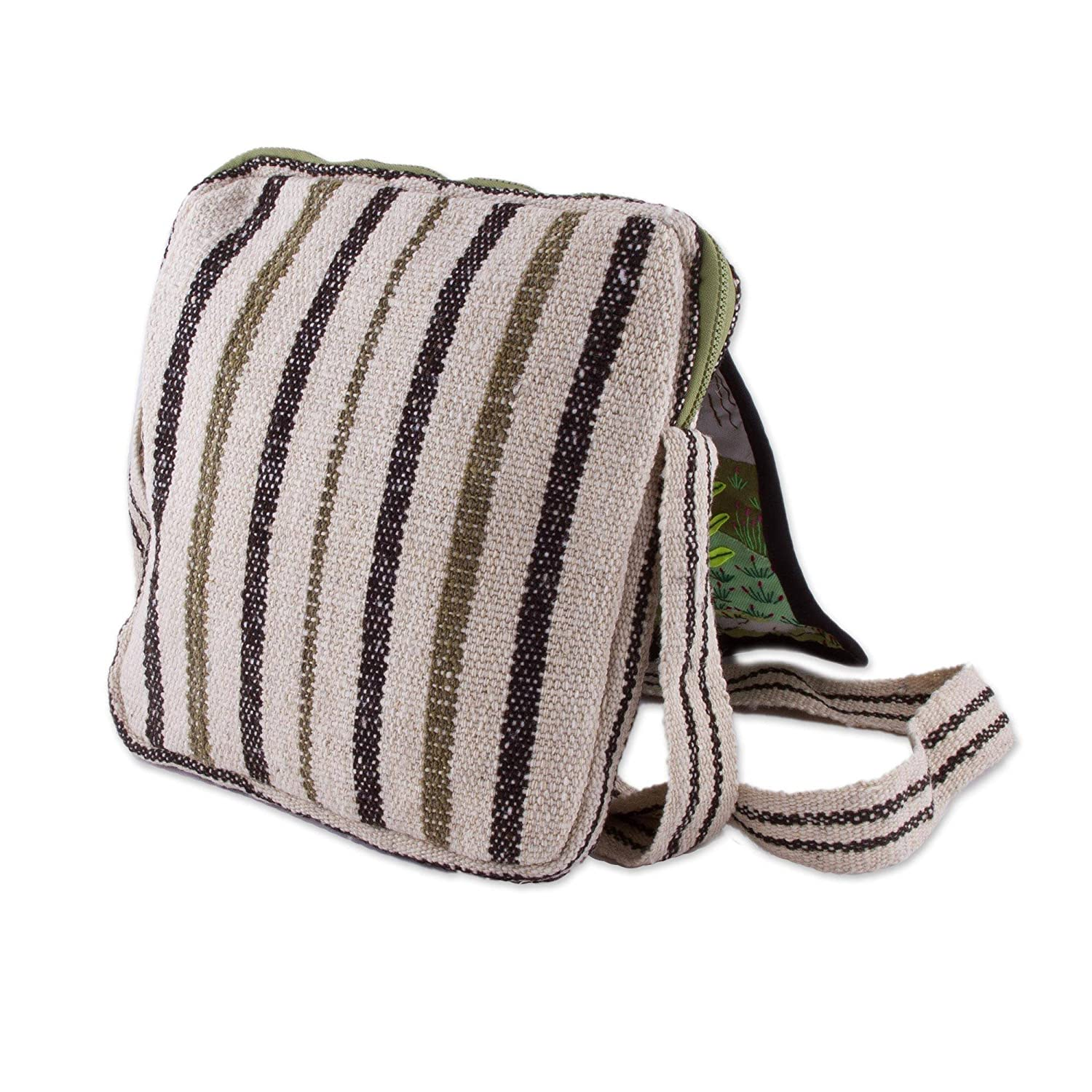 Marvelous Andes NOVICA Green Wool Patchwork Messenger Bag
