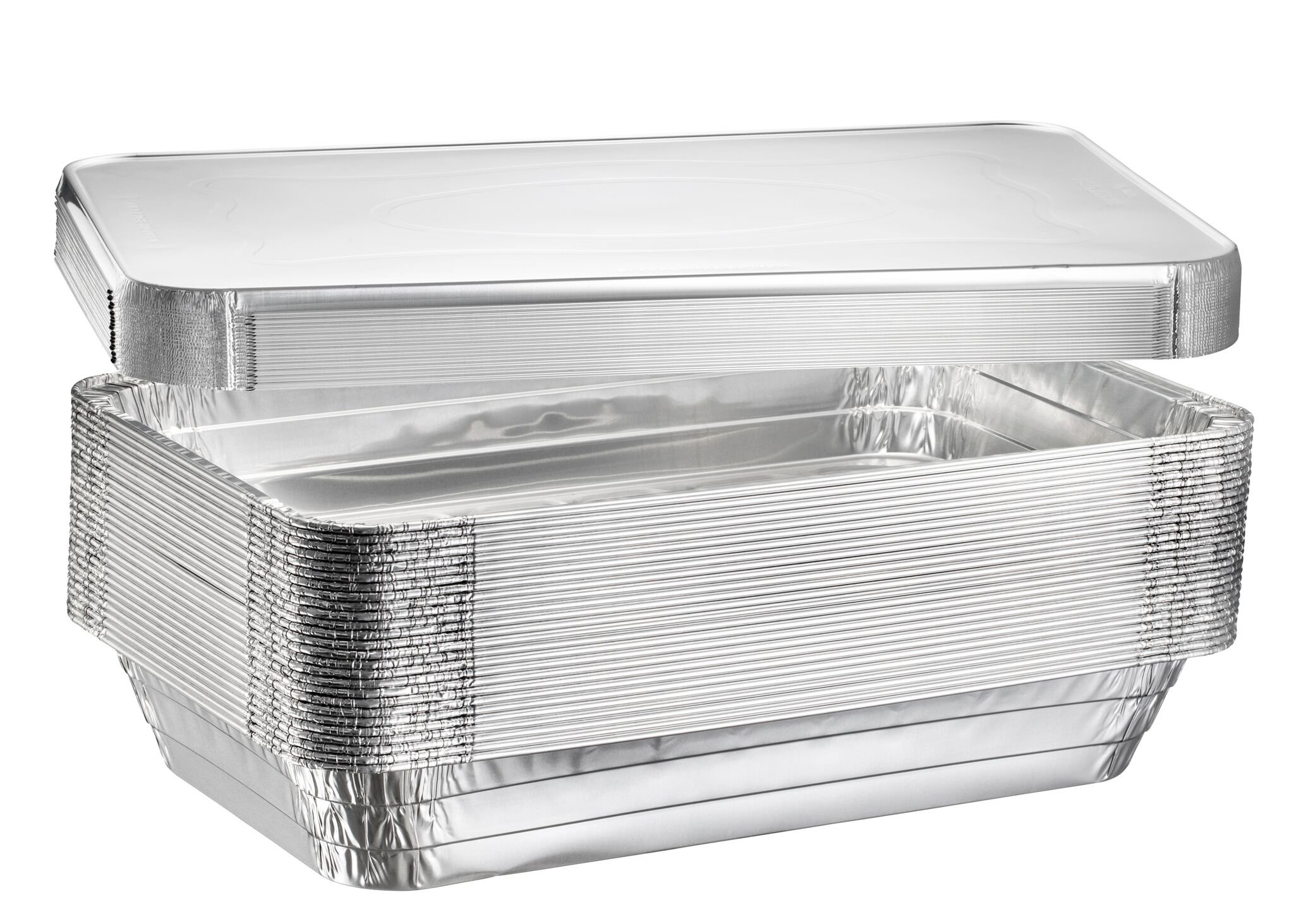 Full Size Deep Steam Table Pans, Disposable Aluminum Chafing and Catering Pans (21'' x 13'' x 3'') (10, With Lids) by Plastible