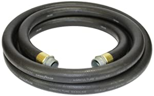 Goodyear 1729-0750-12 Farm Fuel3/4-Inch by 12-Feet Transfer Hose with Threaded Male Couplings on Both Ends, Black