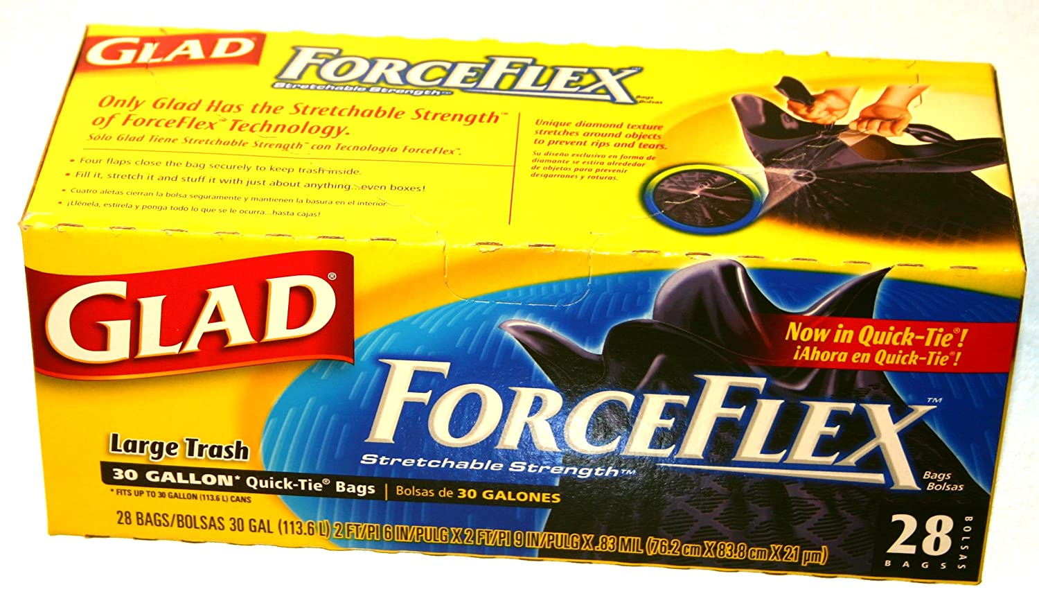 Amazon.com: Glad Force Flex 30 Gallon-28 bags (pack of 3): Home & Kitchen