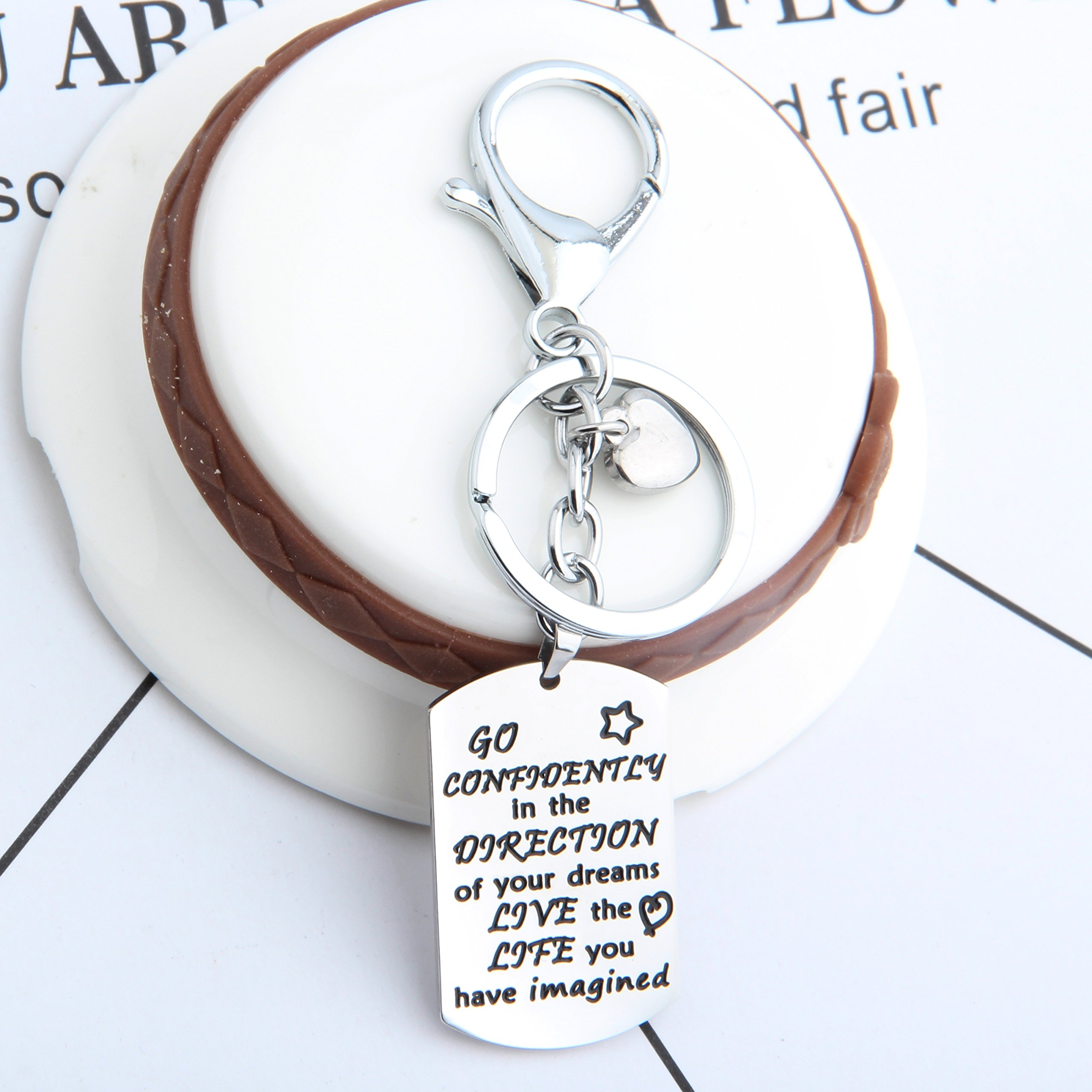 Gzrlyf Graduation Keychain Go Confidently In The Direction Of Your Dreams Keychain Inspirational Gift (keychain) by Gzrlyf (Image #4)