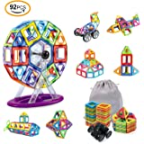 AMZtronics Magnetic Building Blocks, 92 Pieces Magnetic Tiles Construction Blocks 3D Educational Toy Frreis Wheel Stacking Set Perfect Toy and Gift for Toddlers and Adults