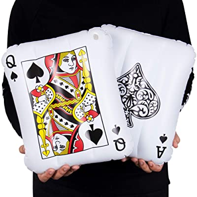 "2-pack King & Queen Mini Inflatable Playing Cards | 13"" PVC Blow Up Pool Floaties for Vegas Casino Theme Party Decorations, Swimming Pool Fun, and More 