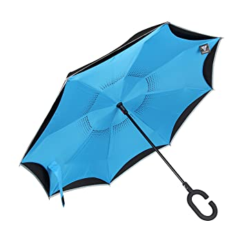Paraguas invertido de Vitchelo, con doble capa, automático, interior con protecció