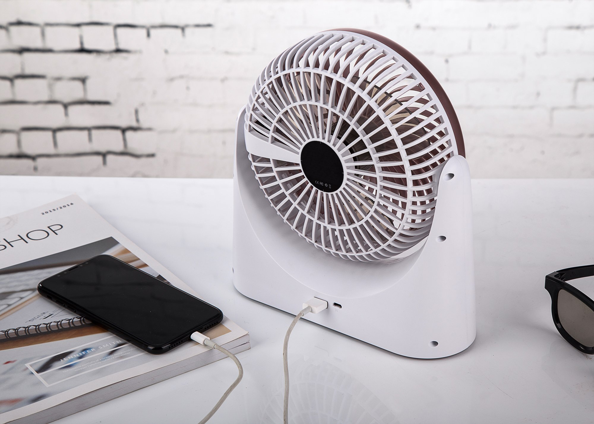 HCMAOE Mini USB Table Desk Personal Portable Air Circulator Fan 3 Speed, Lower Noise, Powered by USB or 4000mAh Rechargeable 18650 Battery with Power bank Function, Side LED Light for Office, (Silver) by HCMAOE (Image #5)