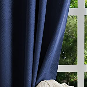 Valea Home 100% Blackout Curtains with Geometric Embossment Pattern for Bedroom Living Room, Grommet Room Darkening Curtain Panels Drapes 84 inch Length, 1 Panel, Navy Blue