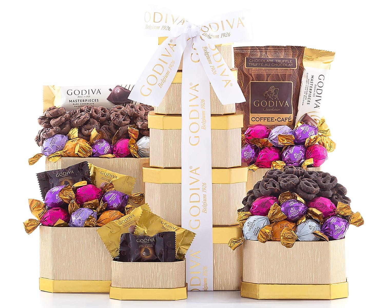 Chocolate Gift Tower- The Godiva Milk and Dark Chocolate Gift Tower by Wine Country Gift Baskets