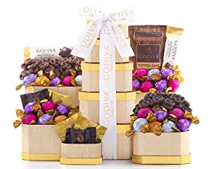 Chocolate Gift Tower- The Godiva Milk and Dark Chocolate Gift Tower by Wine Country Gift Baskets