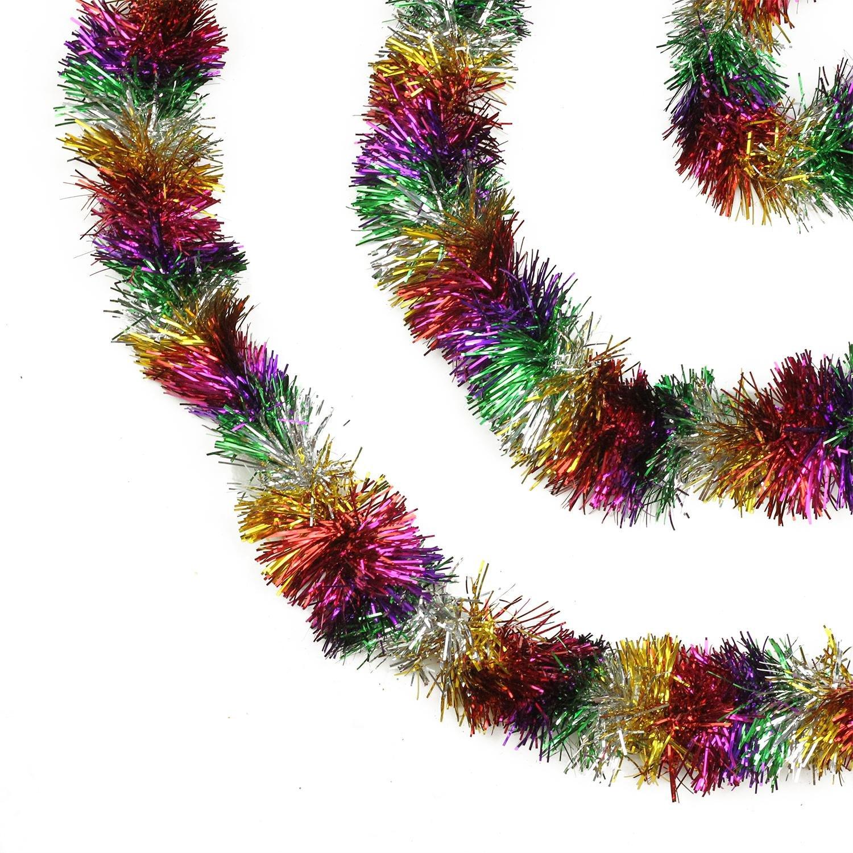 Northlight Festive Shiny Rainbow Colored Christmas Foil Tinsel Garland Unlit-8 Ply, 50', Multi