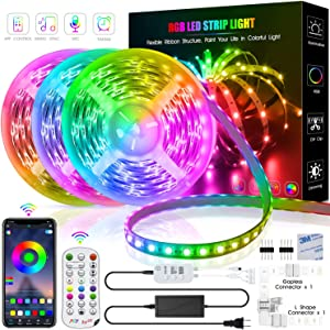 Led Strip Lights 50 Feet,TINOCOR Led Lights Strip App Control, Color Changing and Synchronization with Music,Led Lights for Bedroom,Room and Home Decoration