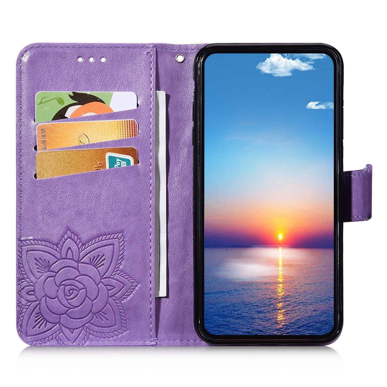 Saceebe compatibile con Huawei Y9 prime 2019//P smart Z Custodia pelle,Cover a libro PU Flip Case Pelle Portafoglio Wallet Case Custodia in pelle farfalla rilievo con cordino Antigraffio,grigio